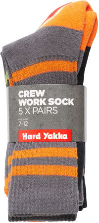 HARD YAKKA Crew Sock 5 Pack Y20035
