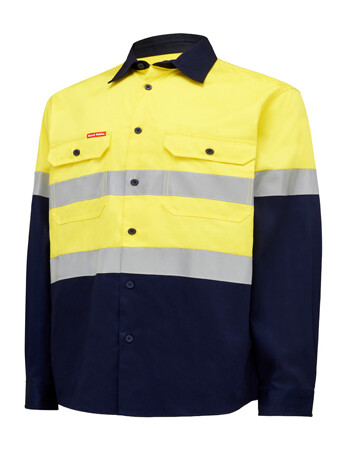 HARD YAKKA Shirt Hi Vis LS +Tape Y04610