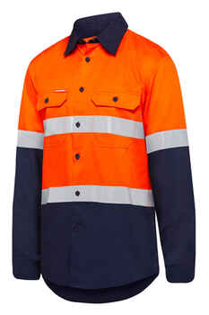 HARD YAKKA Shirt Hi Vis Vented L/S +Tape (Y07940)